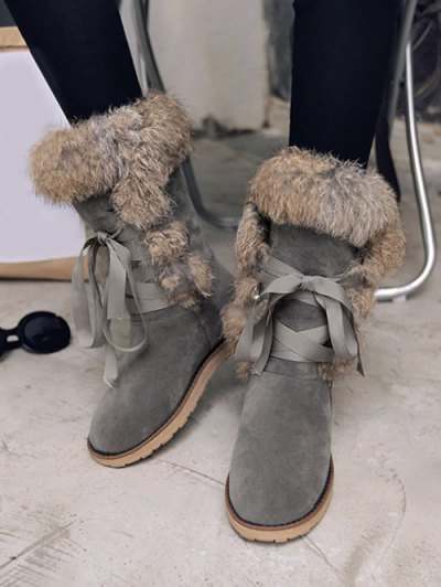 Ribbon Furry Snow Boots - GRAY 38 Mobile