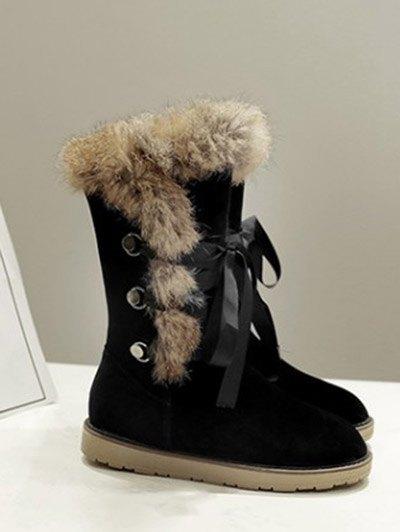 Ribbon Furry Snow Boots - BLACK 39 Mobile