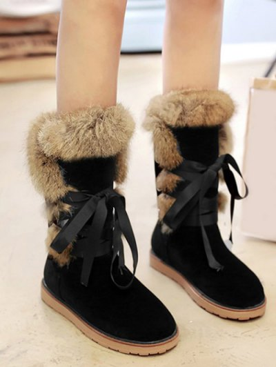 Ribbon Furry Snow Boots - BLACK 38 Mobile