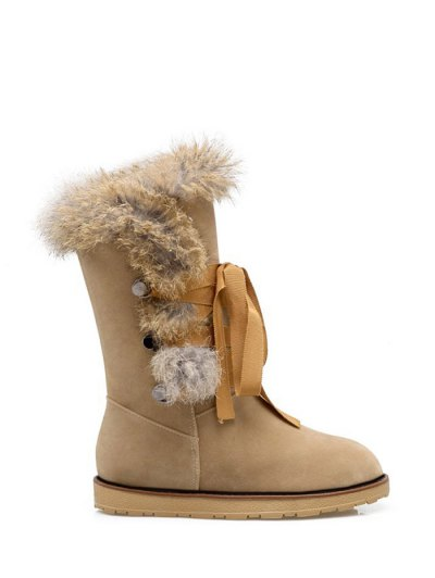 Ribbon Furry Snow Boots - APRICOT 37 Mobile