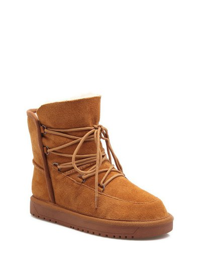 Suede Tie Up Tie Up Snow Boots - LIGHT BROWN 37 Mobile