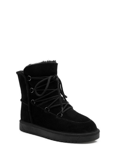 Suede Tie Up Tie Up Snow Boots - BLACK 37 Mobile