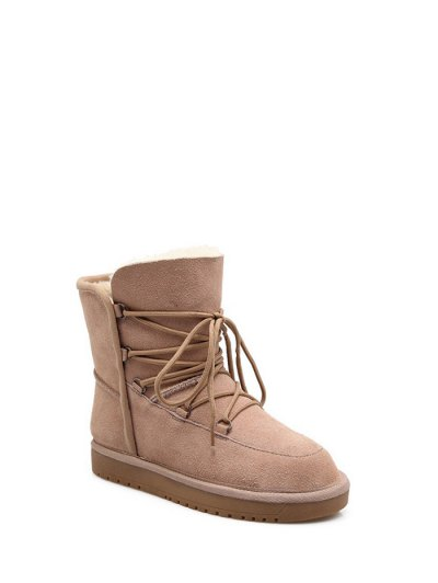 Suede Tie Up Tie Up Snow Boots - APRICOT 37 Mobile