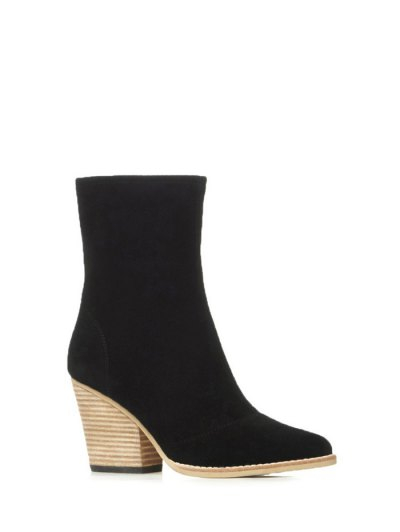 Chunky Heel Pointed Toe Zip Short Boots - BLACK 37 Mobile