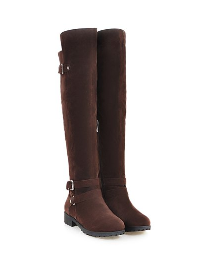Metal Zipper Knee Double Buckle High Boots - DEEP BROWN 39 Mobile