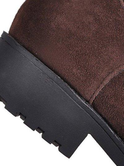 Metal Zipper Knee Double Buckle High Boots - DEEP BROWN 37 Mobile