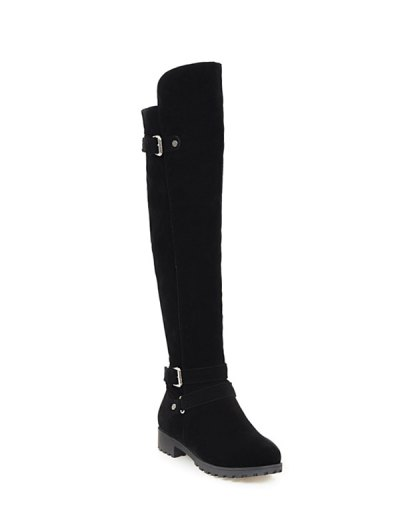 Metal Zipper Knee Double Buckle High Boots - BLACK 38 Mobile