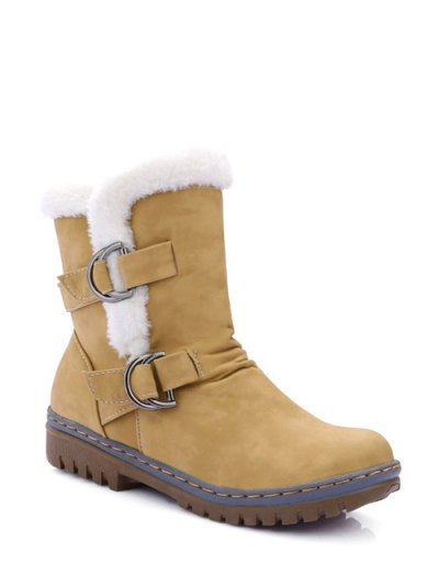 Wrinkled Metal Flat Heel Short Boots - EARTHY 39 Mobile