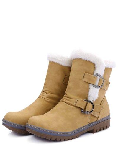 Wrinkled Metal Flat Heel Short Boots - EARTHY 37 Mobile