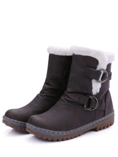 Wrinkled Metal Flat Heel Short Boots - DEEP BROWN 39 Mobile