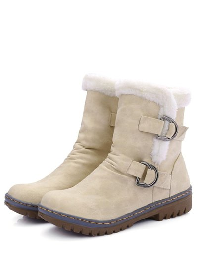 Wrinkled Metal Flat Heel Short Boots - GLITTER CREAMY WHITE 39 Mobile