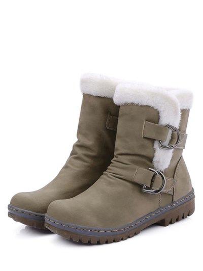 Wrinkled Metal Flat Heel Short Boots - KHAKI 37 Mobile