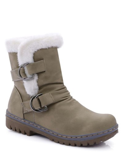 Wrinkled Metal Flat Heel Short Boots - KHAKI 38 Mobile