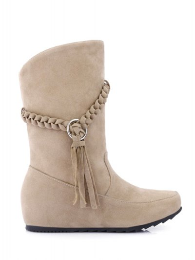 Tassels Weave Hidden Wedge Mid Calf Boots - APRICOT 39 Mobile