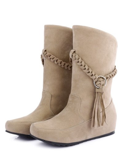 Tassels Weave Hidden Wedge Mid Calf Boots - APRICOT 37 Mobile
