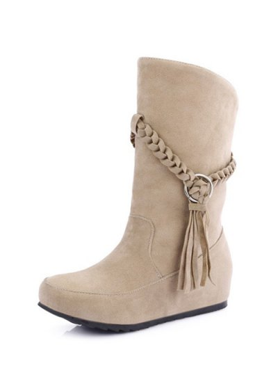 Tassels Weave Hidden Wedge Mid Calf Boots - APRICOT 38 Mobile