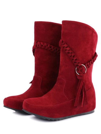 Tassels Weave Hidden Wedge Mid Calf Boots - RED 38 Mobile