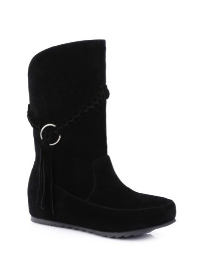 Tassels Weave Hidden Wedge Mid Calf Boots - BLACK 39 Mobile
