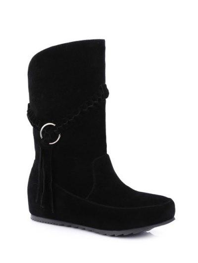 Tassels Weave Hidden Wedge Mid Calf Boots - BLACK 37 Mobile