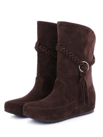 Tassels Weave Hidden Wedge Mid Calf Boots - DEEP BROWN 39 Mobile