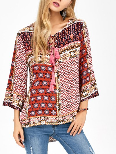 Retro Print High Low Tee - COLORMIX L Mobile