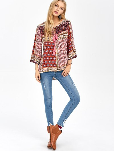Retro Print High Low Tee - COLORMIX S Mobile