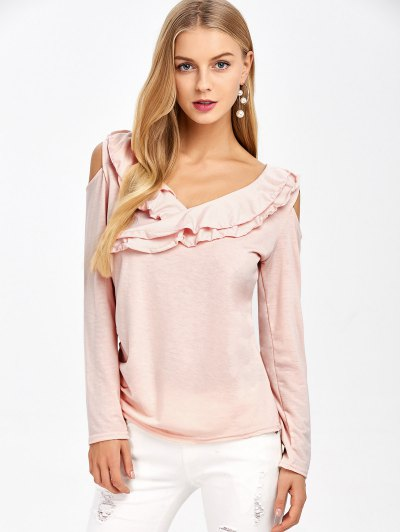 Cold Shoulder V Neck Ruffles T-Shirt - PINK L Mobile