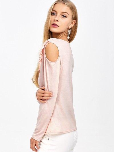 Cold Shoulder V Neck Ruffles T-Shirt - PINK S Mobile