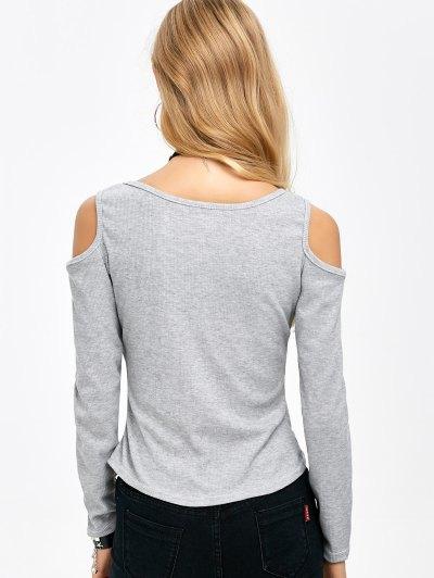 Cold Shoulder Zipper T-Shirt - GRAY XL Mobile