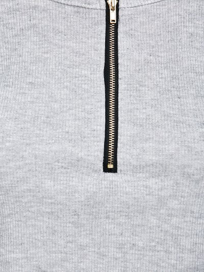 Cold Shoulder Zipper T-Shirt - GRAY L Mobile
