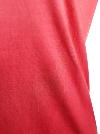 Ombre V Neck Asymmetrical Tee - RED L Mobile