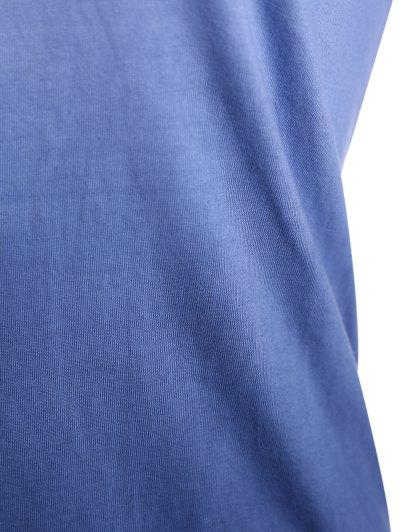 Ombre V Neck Asymmetrical Tee - PURPLISH BLUE 2XL Mobile