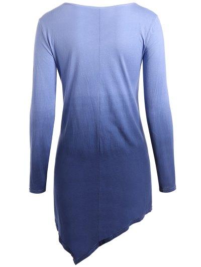 Ombre V Neck Asymmetrical Tee - PURPLISH BLUE S Mobile