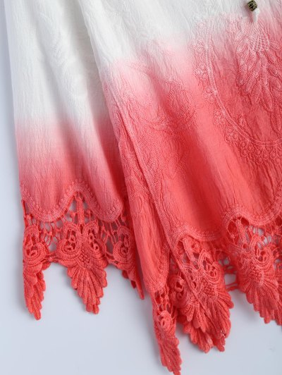 Ombre Lace Spliced Blouse - WATERMELON RED ONE SIZE Mobile