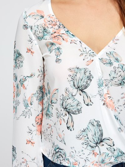 High Low Floral Surplice Blouse - WHITE S Mobile