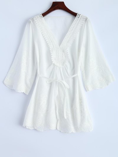 Hollow Out Self-Tie Embroidered Blouse - WHITE L Mobile