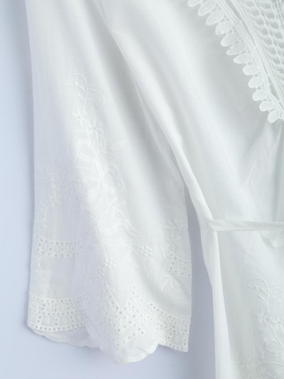 Hollow Out Self-Tie Embroidered Blouse - WHITE M Mobile