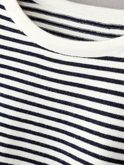 Striped Round Neck Pullover Knitwear - WHITE AND BLACK ONE SIZE Mobile