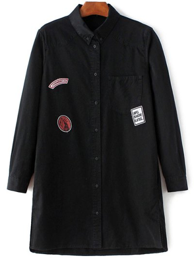 Letter Patch Long Sleeve Denim Shirt - BLACK L Mobile