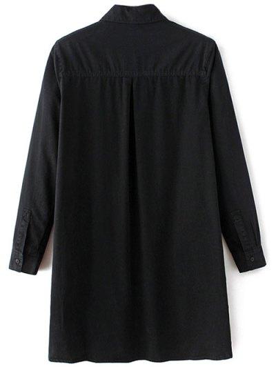 Letter Patch Long Sleeve Denim Shirt - BLACK M Mobile