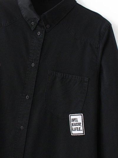 Letter Patch Long Sleeve Denim Shirt - BLACK S Mobile
