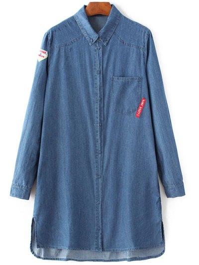 Letter Patch Long Sleeve Denim Shirt - BLUE L Mobile