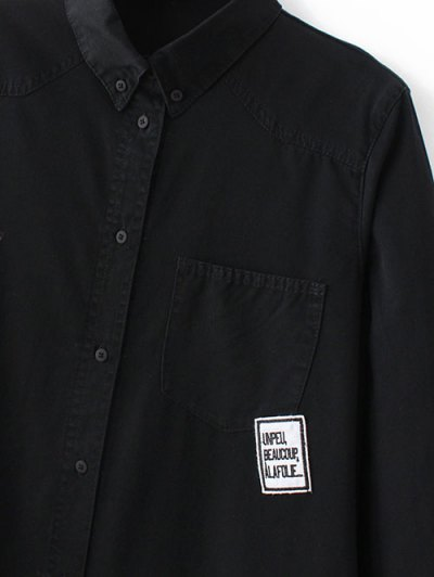 Letter Patch Long Sleeve Denim Shirt - BLUE M Mobile