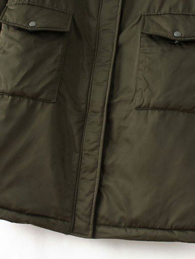 Stand Neck Padded Bomber Coat - ARMY GREEN L Mobile
