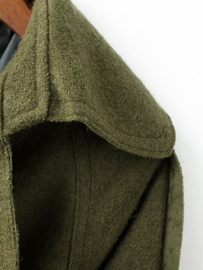 Wool Blend Lapel Collar Wrap Coat - GREEN L Mobile