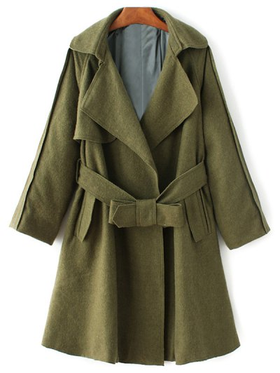 Wool Blend Lapel Collar Wrap Coat - GREEN M Mobile