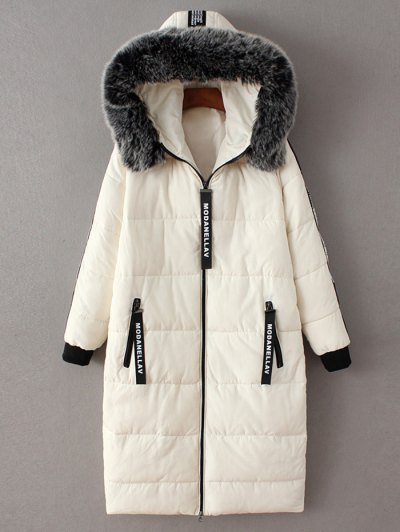 Hooded Number Patch Quilted Coat - WHITE L Mobile