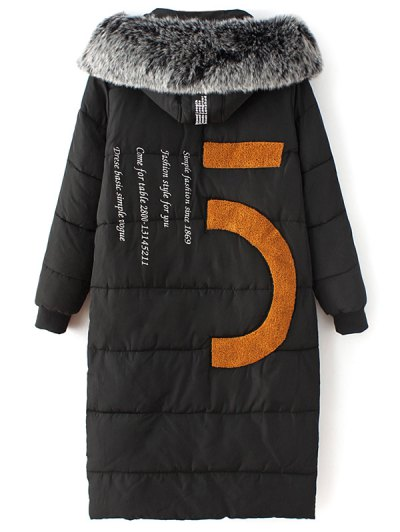 Hooded Number Patch Quilted Coat - BLACK L Mobile