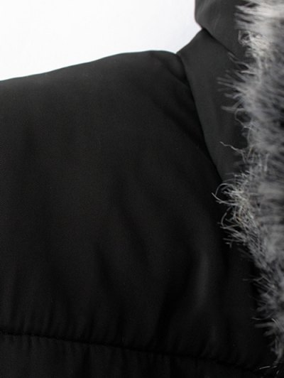 Hooded Number Patch Quilted Coat - BLACK M Mobile