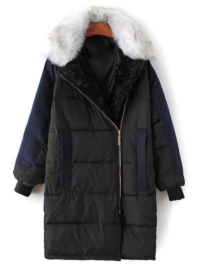 Wool Panel Fur Collar Quilted Coat - BLACK M Mobile